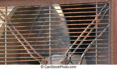 Rusty industrial fan close up