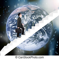 Business man stepping up on stairs with earth background. Elements of this image are furnished by NASA