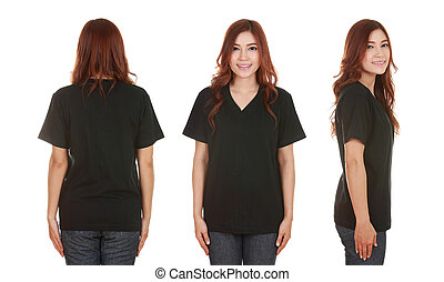 young beautiful female with blank t-shirt - young beautiful...
