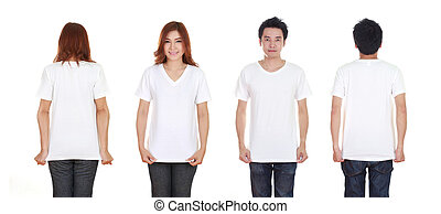 man and woman with blank t-shirt isolated on white...