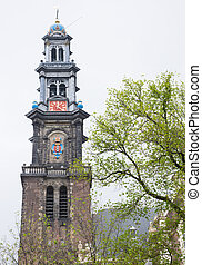 Westerkerk Church bell tower - Westerkerk bell tower,...