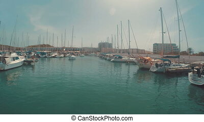 Entering to herzliya marina in israel - view from the boat