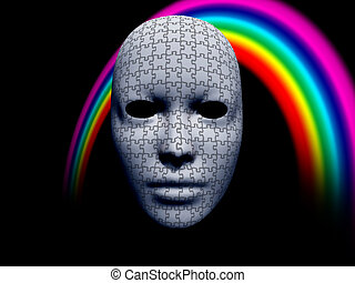 puzzle facemask with rainbow on black