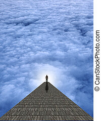 Passage - Man atop stone in clouds