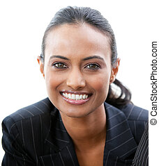 Portrait of a confident businesswoman smiling at the camera...