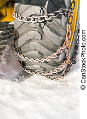 Wheel with chains on snow