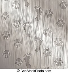 Foot-Paw Print - Illustration traces of foot and paw on a...