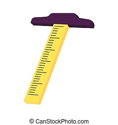 T Square drafting tool icon, cartoon style