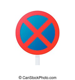 Clearway sign icon, cartoon style - Clearway sign icon in...