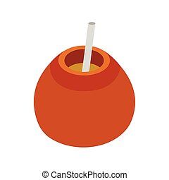 Chimarrao for mate or terere icon in isometric 3d style on a...