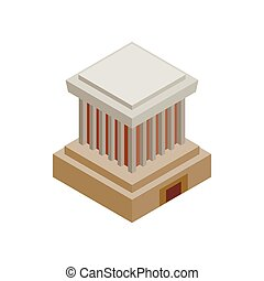 Ho Chi Minh Mausoleum icon, isometric 3d style - Ho Chi Minh...