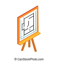 Flipchart with building plan icon in isometric 3d style on a...