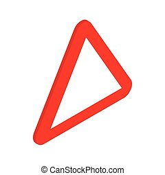 Red triangular blank road sign icon in isometric 3d style on...