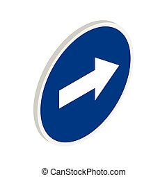 Blue road sign pointing right icon