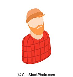 Man with a beard in a hat icon, isometric 3d style