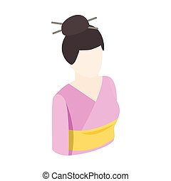 Asian kimono woman icon, isometric 3d style