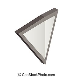 Silver triangular shield icon, isometric 3d style