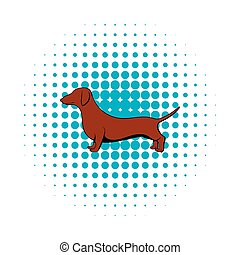 Dachshund icon in comics style on a white background