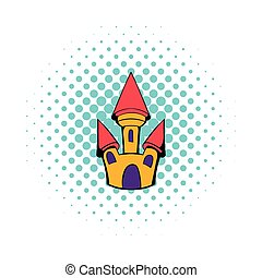 Castle icon in comics style on a white background