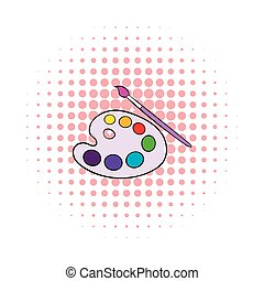 Art palette with paint brush icon, comics style