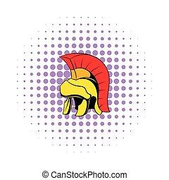 Roman legionary helmet icon, comics style