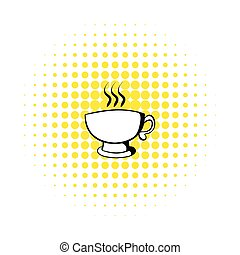Cup of coffee or tea icon, comics style