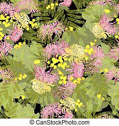 Floral chrysanthemum and mimosa flowers retro vintage...
