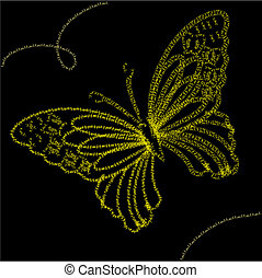 Background with yellow butterfly, vector illustration