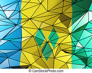 Triangle background with flag of saint vincent and the...