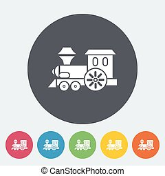 Train toy flat icon - Train toy icon Flat vector related...