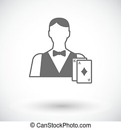Live dealer flat icon - Live dealer Single flat icon on...