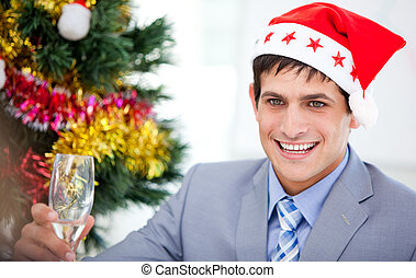 Caucasian businessman celebrating christmas in the company