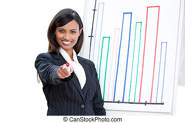 Self-assured businesswoman doing a presentation
