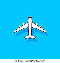 White vector plane flying over blue sky