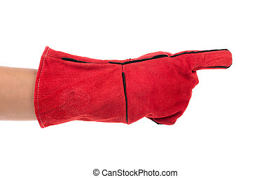 Heavy-duty red glove on hand Isolated on a white background...