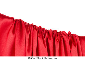 Red silk texture cloth. Close up.
