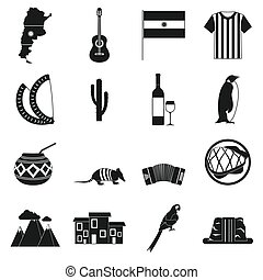 Argentina set icons in simple style for any design