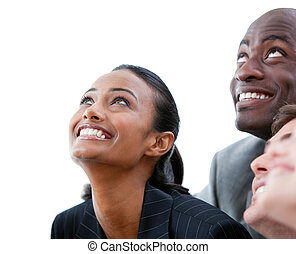 Cheeful business people smiling against a white background