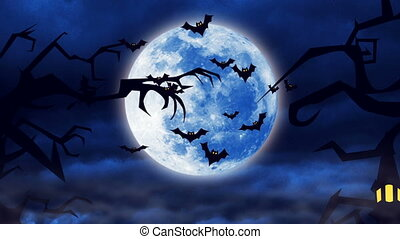 quot;Flying bats against a bright moon backgroundquot; -...