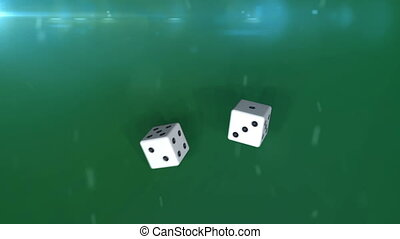 """Two white dices in motion agaunst a green background"" -..."
