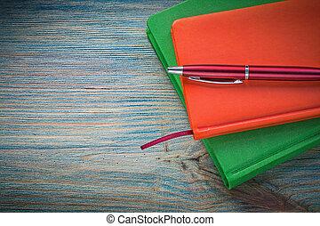 fechado, Notepads, biro, caneta, ligado, madeira,...