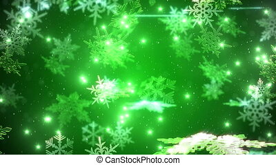 Snowflakes falling over a green backdrop - snowfall with a...