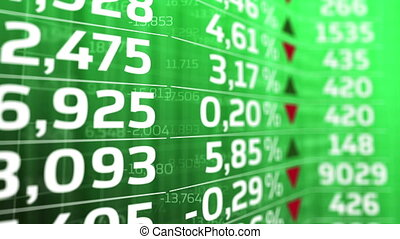 """Stock Market board moving. Green color. "" - ""Stock Market..."