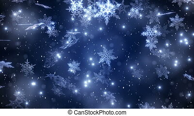 """Christmas background with snowflakes - falling snow"""