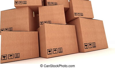 "Pile of cardboard boxes - ""Pile of cardboard boxes against a..."
