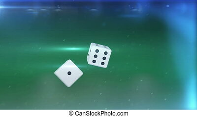 """Two white dices in motion  against a green background"""