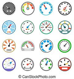 Speedometer icons set, simple style - Speedometer icons set...