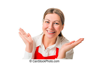 portrait of a cheerful pretty girl in red apron, isolated