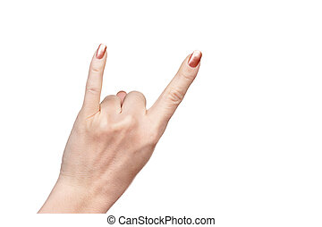 Hand gesture meaning goat - Female hand put up little finger...