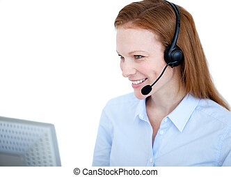 Radiant sales representative woman working on a computer...